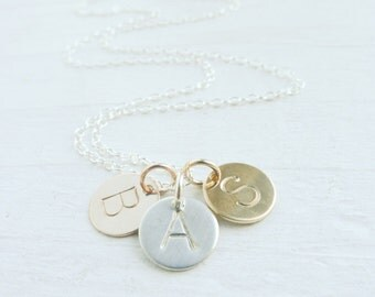 Small Initial Necklace Mixed Metal Jewelry Sterling Silver Rose Gold filled Uppercase Letter Medallions Gift for Mom Gifts for Friends