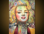 Marilyn Monroe abstract art painting, Hollywood icon movie stars modern...WATCH a video of me doing this painting, link in description
