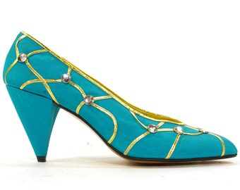 80s Turquoise & Gold Rhinestone Satin Pumps by Beverly Feldman / Vintage 1980s Novelty Embellished Rocker High Heels / Women's Size 7.5