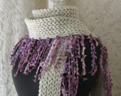 Day Dream Fringe Scarf - oatmeal and lavender