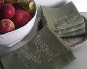 custom hand-embroidered monogram tea/dish/hand towel - sage green towel, white, ecru, or brown stitching - your letter