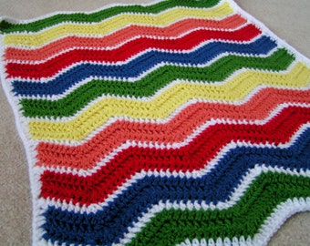 Rainbow Baby Blanket Travel Size Chevron/Ripple Ready to Ship