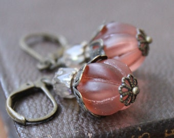 Beaded Dangle Earrings, Autumn Pumpkin, Peach, Vintage Style, Gifts For Her, Gift Giving