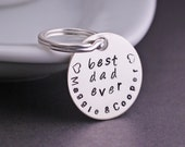 Personalized Dad Gift,  Sterling Silver Keychain for Dad, Best Dad Ever Father Gift