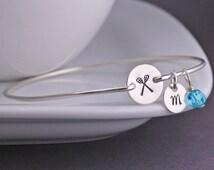 Lacrosse Bracelet, Jewelry for Lacrosse Mom, Sterling Silver Personalized Lacrosse Bangle Bracelet, Sports Jewelry, Athletic Jewelry