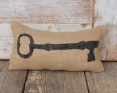 Skeleton Key -  Burlap Feed Sack Doorstop - Door Stop