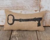 Skeleton Key -  Burlap Feed Sack Doorstop - Door Stop