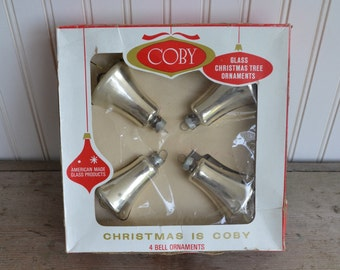 SALE 4 Coby Glass Christmas ornaments in Original Box, Silver Bells,