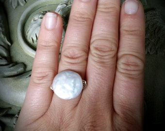 Sterling silver wire wrapped giant coin pearl ring