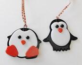 Fused Glass Penguin, Penguin Ornament, Christmas Glass, Holiday Penguin  -- Pauline