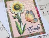 3D Thank You Card, Handmade Thank You Card, Gratitude Card, Floral Card, Blank Thank You Card, Blank Greeting Card, Butterfly Card,