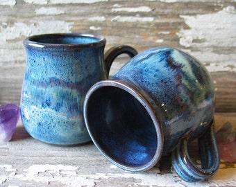 Pottery Mug - Monet Blues - Stoneware Mug - Coffee Cup - Tea - READY TO SHIP