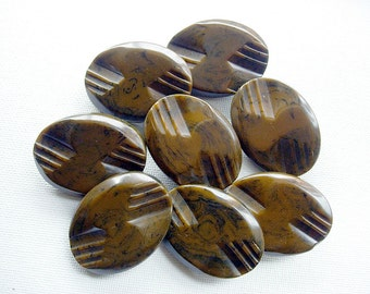 Eight Carved Oval Thick and Chunky Vintage Bakelite Buttons-Test Positive