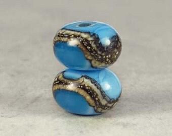 Ocean Blue Glass Lampwork Bead Pair, Glass Beads, Glass Lampwork, Lampwork Beads, 2 Glossy 11x7mm Atlantis