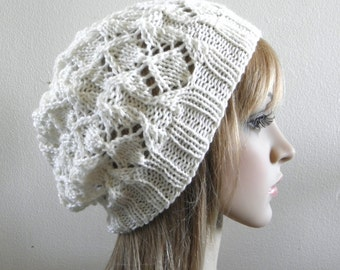 Lacy beret slouchy hat hand knit cream white ivory pure supersoft australian wool knitted lux softest warm women teen winter autumn beanie