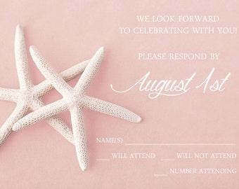 25 postcards per set-  wedding response postcards- white starfish on pink