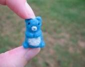 Needle Felted Miniature Blue Bear Tiny Figure