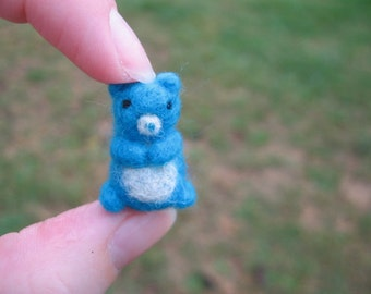 Needle Felted Miniature Blue Bear Tiny Figure