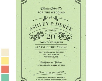 25 Vintage Seed Paper Wedding Invitations
