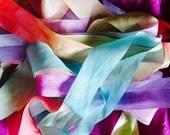 Hand painted pure silk ribbon....1 inch wide...rainbow