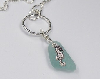 Natural Sea Glass Necklace with a Sea Horse Charm