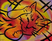 Original acrylic & mixed media painting on canvas - 11x14 -Cat Nap