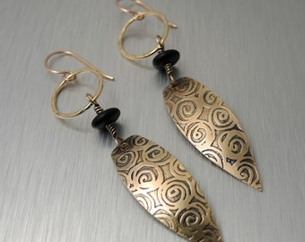 Etched Brass Earrings - Long Dangle Earrings - Brass and Black Glass Beads
