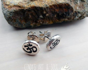 Om Earrings Silver Post Nugget Earrings