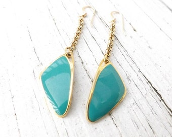 Dangle Teal Geometric 14 KT Gold Filled Earrings - Vintage Recycled Gold Plated Rolo Chain - Vintage Repurposed Charms -  2 3/4 Inches Long