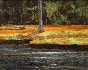 No.783 Edge of the Woods - Needlefelt Art XL - Wool Painting
