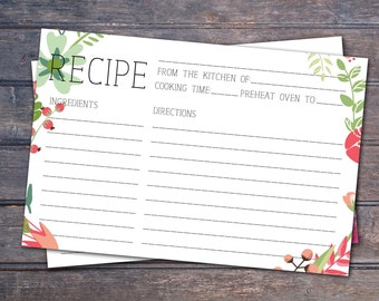 Floral Printable recipe card - Instant download