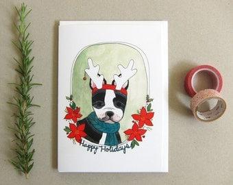 Custom Dog Christmas Card Dog Holiday Card Boston Terrier