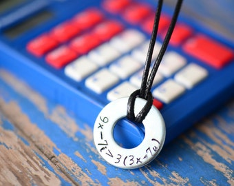 I Love You Math Nerd Metal Stamped Necklace