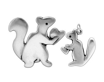 Mother Daughter Squirrel Necklace Set - Two Sterling Silver Squirrel Pendants for Mother's Day or New Baby