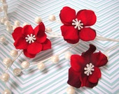 Winter Luxury - Mini Velveteen Flower Hair Clip with Pearlized Snowflake Center