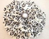 Leopard Flower Pin. Hair Clip. Large Flower. brooch. Black, Ivory, Gray Grey. corsage. headpiece. CHEETAH