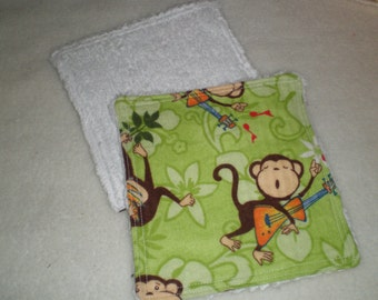 Reusable Washclothes Wipes Flannel Green Fun Monkeys Set of 3