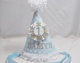 Boy Snowflake 1st Birthday Party Hat- Winter Onederland- Personalized