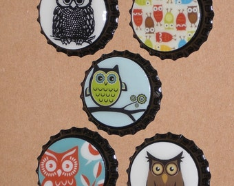 Set of 5 Assorted Owl Sealed Black Bottle Caps for Scrapbooking Hairbows Necklaces Gift Ties Charms Party Favors