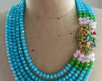 SALE Statement Necklace, Repurposed,  Strand, vintage, Turquoise, Crystal