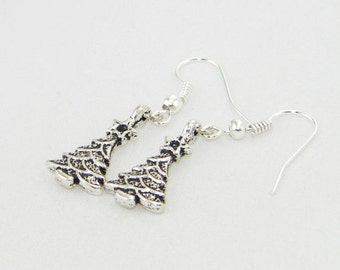 Silver Christmas tree charm dangle earrings, Christmas earrings, Holiday, Festive, jewelry