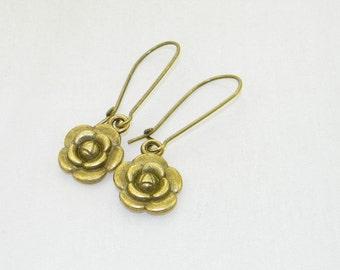Bronze rose charm dangle earrings, Flower, Garden, Jewelry
