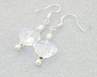 Faceted crystal quartz with freshwater pearls hung on sterling silver earrings, Wedding, Bride - April birthstone