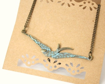 Soaring Sparrow  Necklace, Antique Brass Patina, Bird, Nature Inspired, Wedding, Holiday, Gift