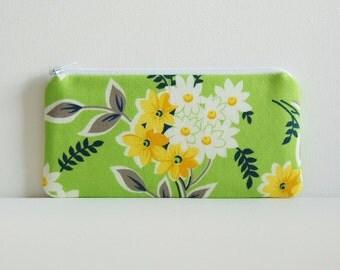 Green Bouquet Long Zipper Pouch Women's Wallet Pencil Case Denyse Schmidt Flea Market Fancy