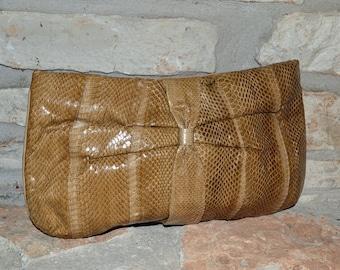 SNAKE EYES - vintage variegated tan snakeskin convertible clutch to shoulder bag