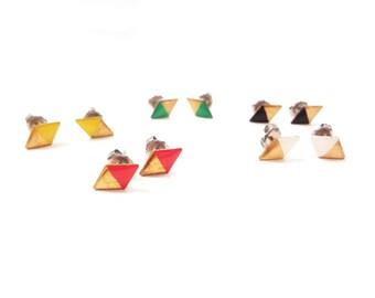 diamond earrings, geometric rhombus two color earrings