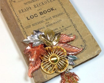 Taste of Fall Leaves Collage Brooch from vintage jewelry silver copper gold