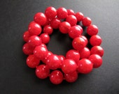 Joan. Knotted Red Bamboo Coral Necklace, Classic Round Beaded Necklace, Chunky Red Necklace