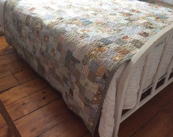 miss havisham farmhouse quilt made to order-- queen or king size -- pale gray, cream, linen, soft